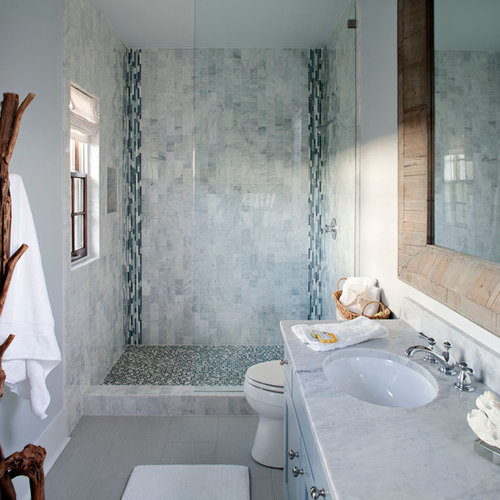 coastal mosaic tile alcove shower photo in jackson with an undermount sink blue cabinets and - Bathroom Designs Without Bathtub