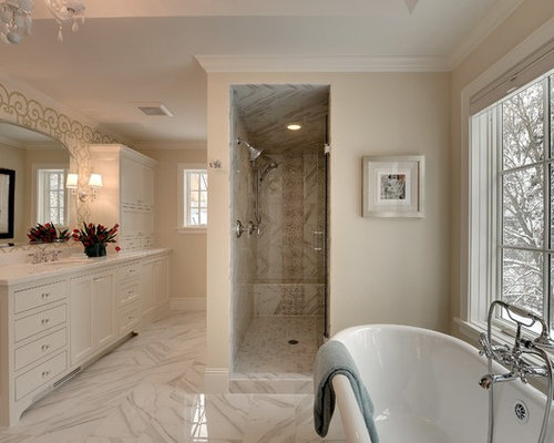 Elegant Bathroom Photo In Minneapolis With White Cabinets