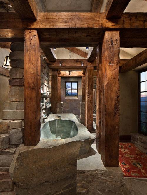 75 Rustic Bathroom With A Hot Tub Design Ideas Stylish