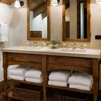 Wormy Maple Rustic Vanity And Linen Tower