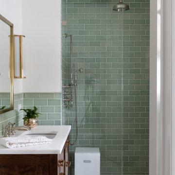 Green Bathroom Tiles with Handmade Tile Trim