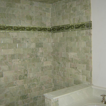 Green marble subway tile shower