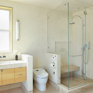 Trendy Beige Tile Corner Shower Photo In San Francisco With An Undermount  Sink, Flat