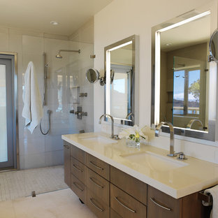 Bathroom - mid-sized contemporary master gray tile and glass tile limestone floor bathroom idea in San Francisco with an undermount sink, engineered quartz countertops, beige walls, flat-panel cabinets and dark wood cabinets