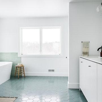 Green Scandinavian Inspired Master Bath