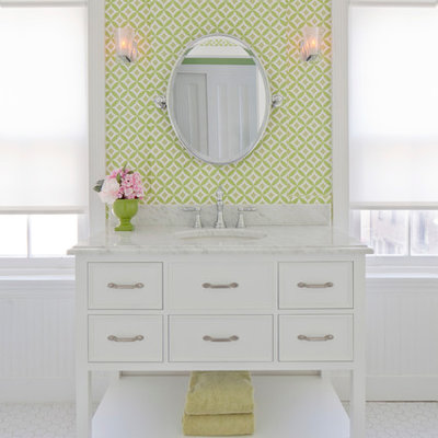 Elegant pebble tile floor bathroom photo in Philadelphia with an undermount sink, furniture-like cabinets, white cabinets and green walls