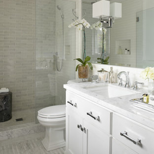 Genial Example Of A Transitional Subway Tile Bathroom Design In San Francisco With  Marble Countertops And White