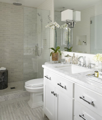 Transitional Bathroom by Urrutia Design