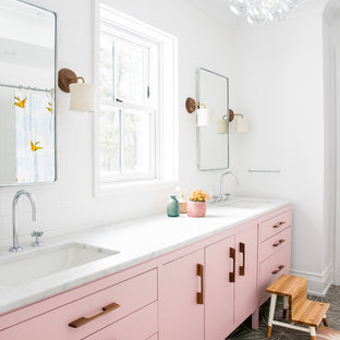 Design ideas for a country master bathroom in New York with flat-panel cabinets, purple cabinets, white walls, an undermount sink, grey floor and white benchtops.
