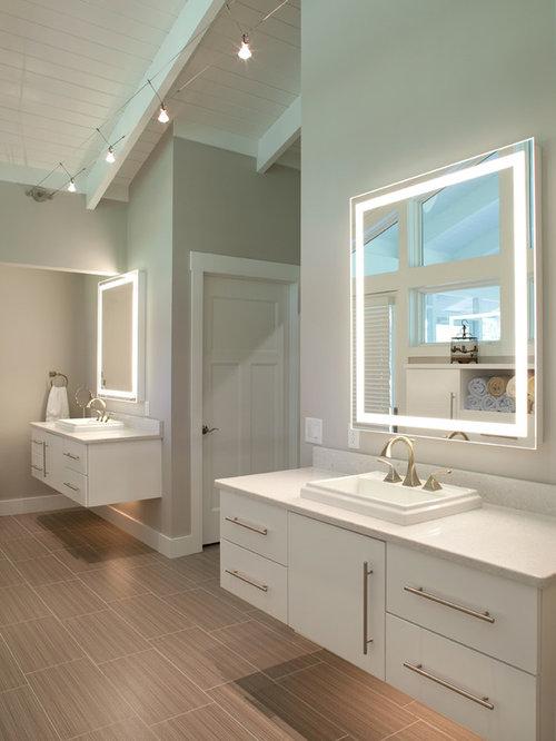 Multicolored tile porcelain tile gray walls and porcelain floors