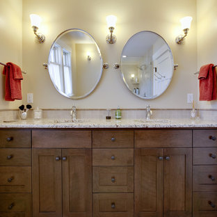 Design ideas for an arts and crafts bathroom in Seattle with granite benchtops.