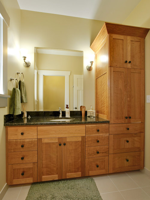 example of an arts and crafts bathroom design in seattle with an undermount sink shaker