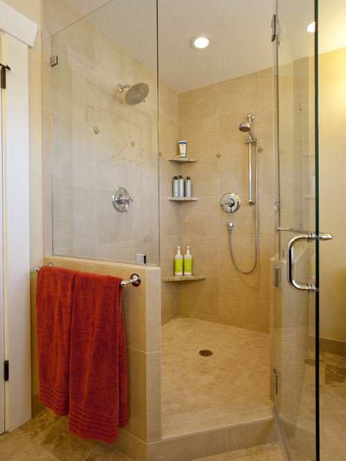 Inspiration For A Craftsman Beige Tile Corner Shower Remodel In Seattle