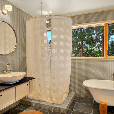 Bathroom - modern mosaic tile bathroom idea in Seattle with a vessel sink