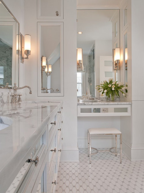 Superior Inspiration For A Large Timeless Master White Tile And Glass Tile Ceramic  Floor And White Floor