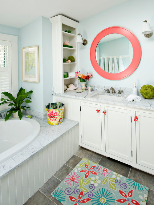 blue and coral bathroom   My Web Value