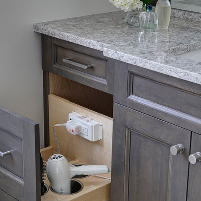 Bathroom - mid-sized transitional master gray tile and porcelain tile porcelain tile bathroom idea in Chicago with shaker cabinets, dark wood cabinets, a two-piece toilet, gray walls, an undermount sink and quartz countertops