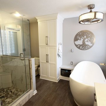 Grey and White Master Bath with Soaker Tub and Tiled Shower ~ Copley, OH