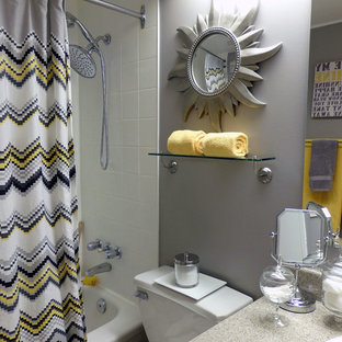 Example of a small trendy master white tile and ceramic tile porcelain floor bathroom design in. Save Photo. Grey and Yellow Bathroom