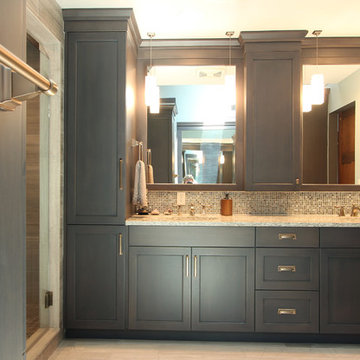 Grey Stained Maple Cabinets with Limestone Tile Floor