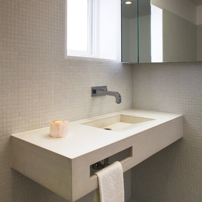 Inspiration for a small modern 3/4 white tile and mosaic tile mosaic tile floor doorless shower remodel in Los Angeles with an integrated sink, concrete countertops, a one-piece toilet and white walls