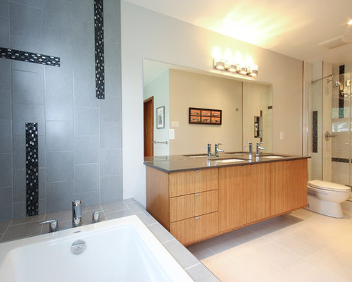 Example Of A Mid Sized Trendy Master Bathroom Design In Ottawa With  Flat Panel