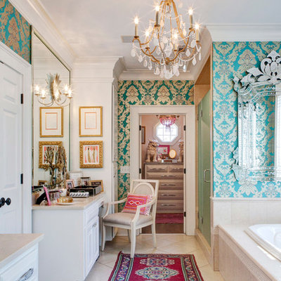 Inspiration for a large eclectic master beige tile and porcelain tile porcelain tile bathroom remodel in Other with an undermount sink, raised-panel cabinets, white cabinets, marble countertops and blue walls
