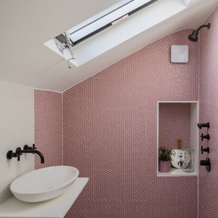 Inspiration For A Scandinavian Shower Room In London With A Walk In Shower,  Pink