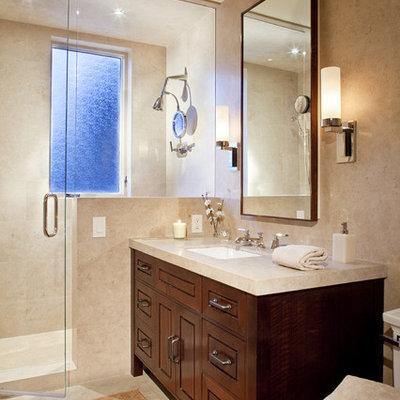 Trendy bathroom photo in Denver with an undermount sink