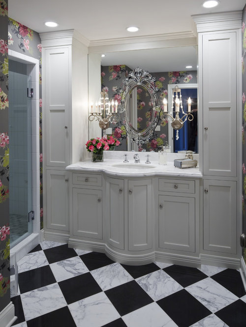 Elegant White Tile Multicolored Floor Alcove Shower Photo In Indianapolis With An Undermount Sink Recessed