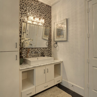 Bathroom - mediterranean 3/4 slate floor bathroom idea in Dallas with an integrated sink, flat-panel cabinets, white cabinets, granite countertops and white walls