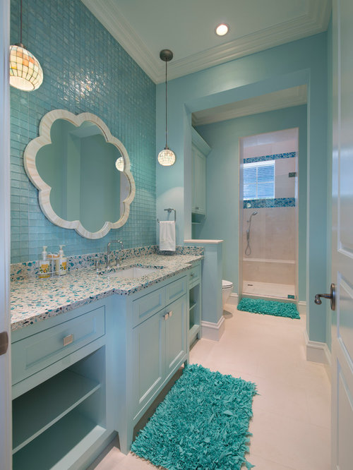 Light blue bathroom houzz for Bathroom designs using mariwasa tiles