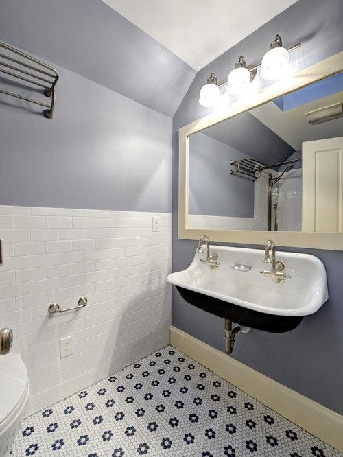 Elegant bathroom photo in Atlanta with a trough sink. Flower Tiles   Houzz