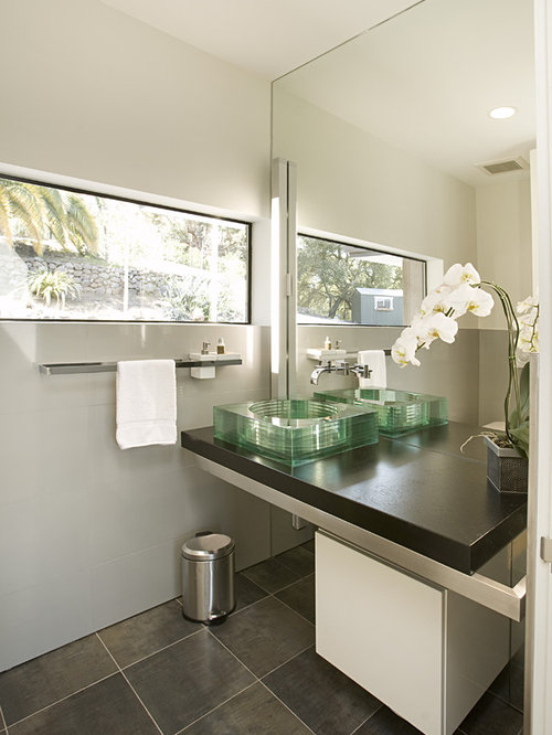 white bathrooms with dark floors. Example of a small trendy gray tile and stone ceramic floor bathroom  design in San Bathroom Dark Floor Houzz