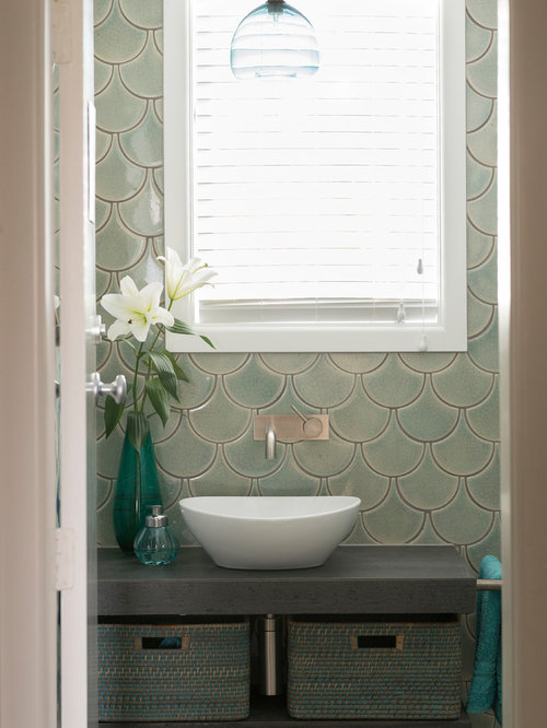 Best 70 green tile bathroom ideas remodeling photos houzz small eclectic 34 green tile and ceramic tile ceramic floor and gray floor bathroom sisterspd