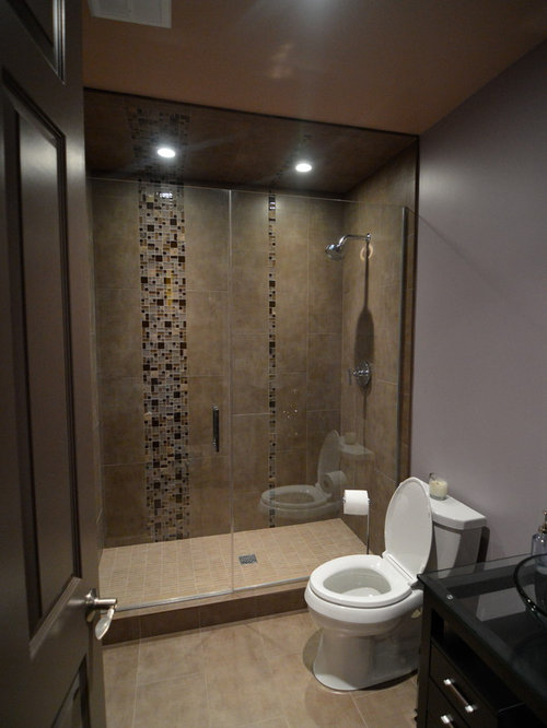 Houzz bathroom with brown cabinets and purple walls for Purple and brown bathroom ideas