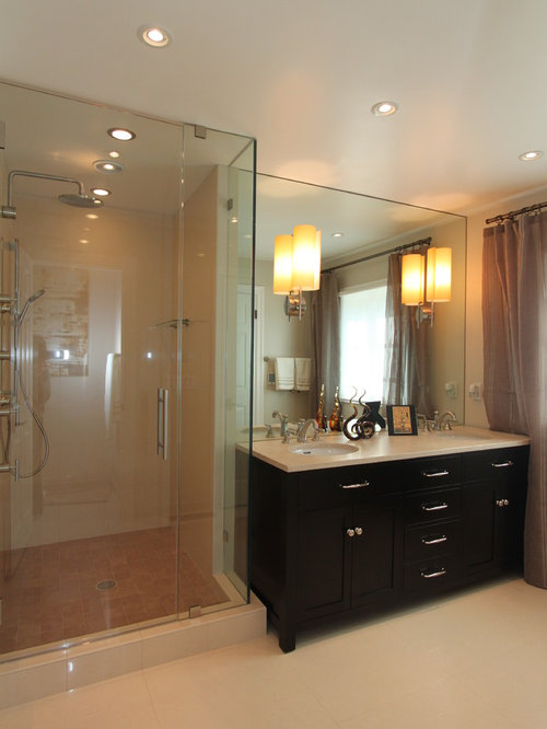 Bathroom Sconces In Mirror sconces through mirror | houzz