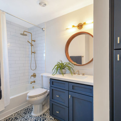 Inspiration for a small transitional kids' white tile and subway tile porcelain tile, single-sink and multicolored floor bathroom remodel in Phoenix with shaker cabinets, blue cabinets, gray walls, an undermount sink, quartz countertops, white countertops and a built-in vanity