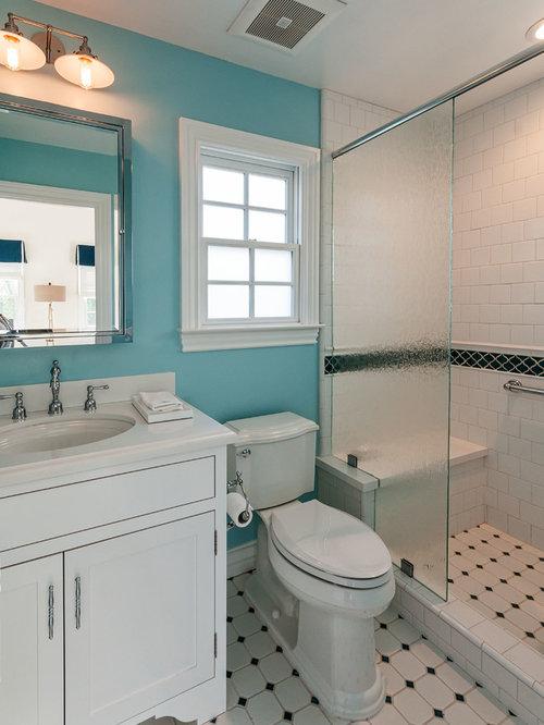 Salle de bain rétro avec des dalles de pierre : Photos et idées ...