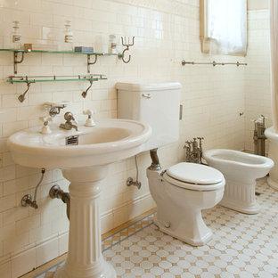 Bathroom   Victorian White Tile And Subway Tile Bathroom Idea In San  Francisco With A Pedestal