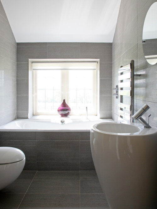 Lovely Mid Sized Trendy Gray Tile And Porcelain Tile Porcelain Floor Drop In  Bathtub Photo