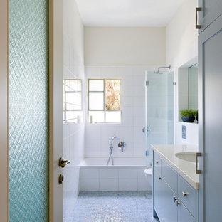 Bathroom - contemporary mosaic tile bathroom idea in Other