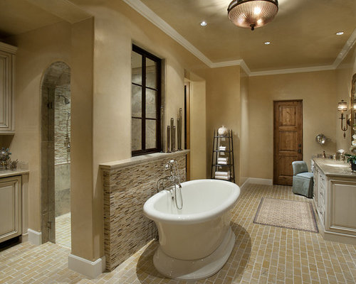 example of a trendy bathroom design in phoenix with a tub - Stand Alone Tub