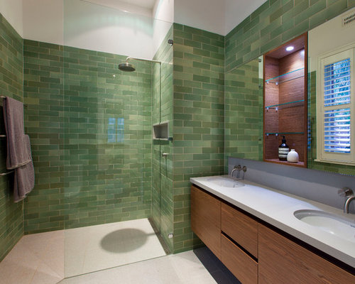 Green Bathroom Tile Houzz