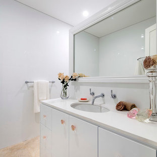 Inspiration for a large contemporary kids' white tile bathroom remodel in Perth with an undermount sink, flat-panel cabinets, white cabinets and white walls