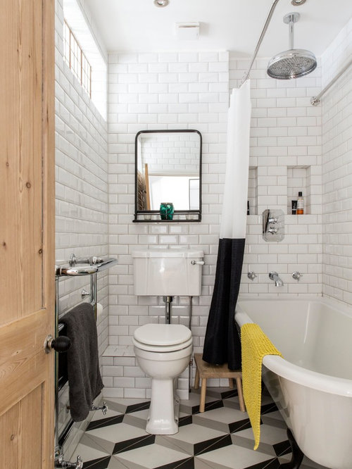 inspiration for a classic shower room in london with a claw foot bath a - Bathroom Ideas Metro Tiles