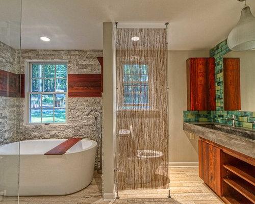 Badezimmer mit porzellan bodenfliesen und zementfliesen design ideen beispiele f r die - Zementfliesen dusche ...
