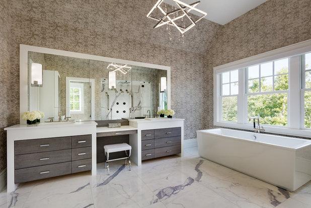 Beach Style Bathroom by Andrea Lecusay Interiors, Inc.