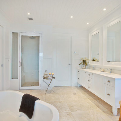 Example of a mid-sized classic white tile and subway tile mosaic tile floor freestanding bathtub design in Gold Coast - Tweed with recessed-panel cabinets, marble countertops and white walls