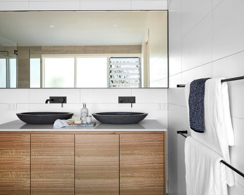 photo of a transitional bathroom in newcastle maitland with flat panel cabinets brown - Transitional Bathroom Ideas